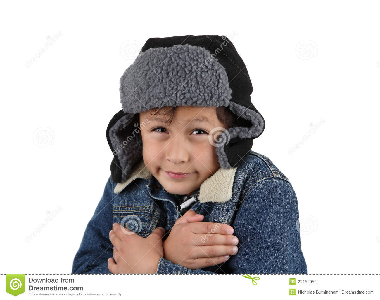 Freezing cold winter boy stock image. Image of cold, denim ...