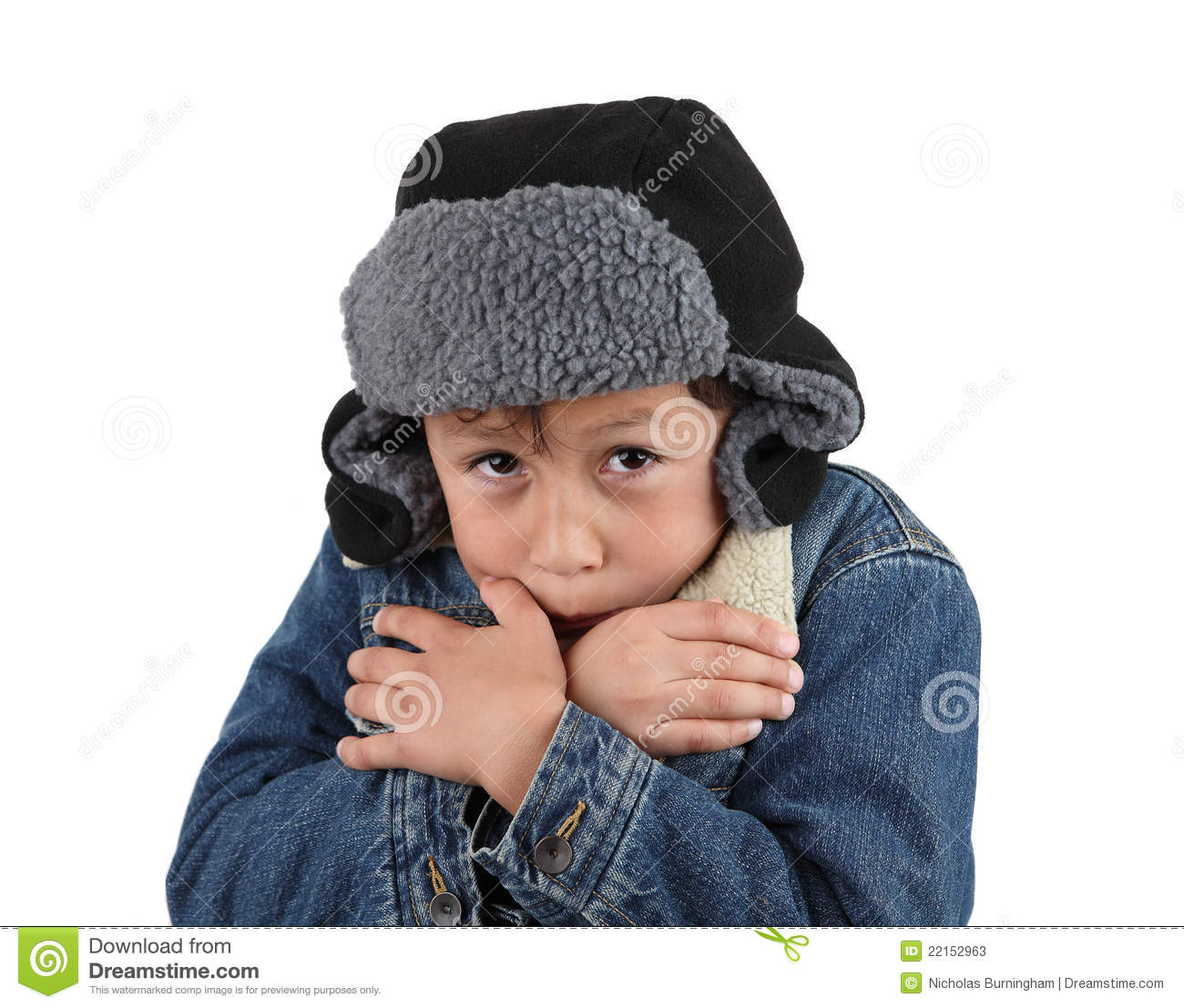 Freezing Cold Woman Freezing cold young boy Stock