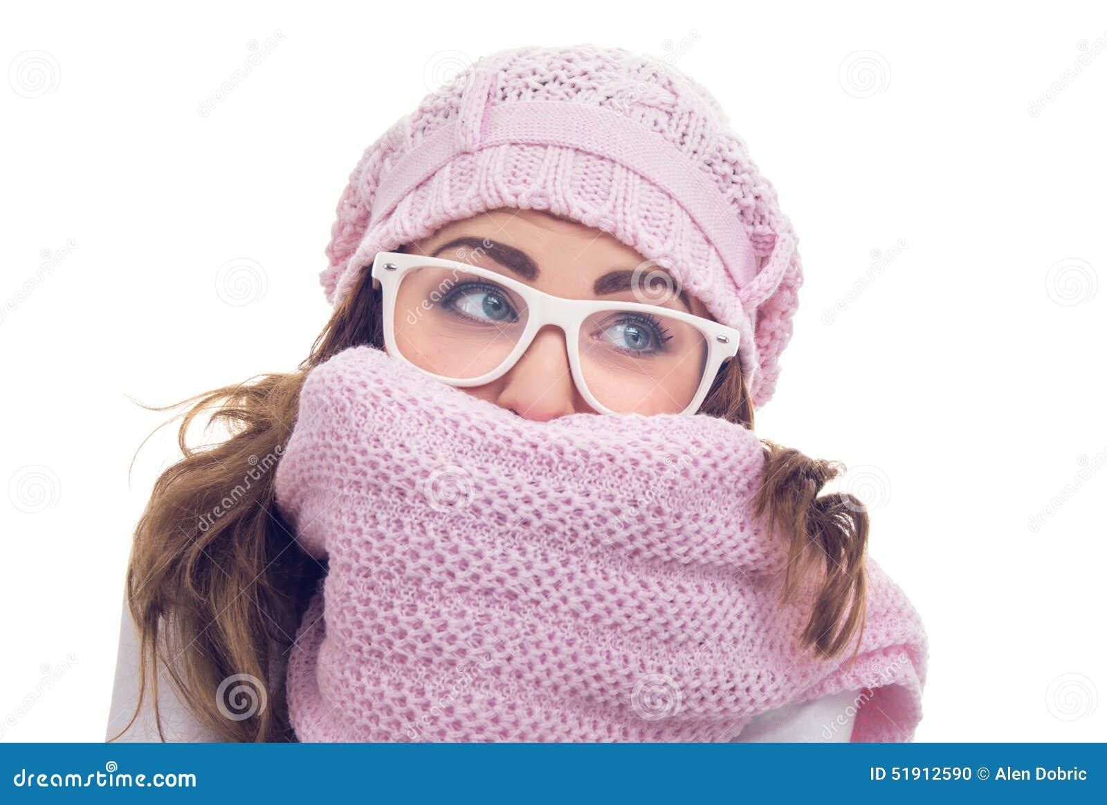 Freezing Young Woman Turning Up Jacket Collar Stock Image ...