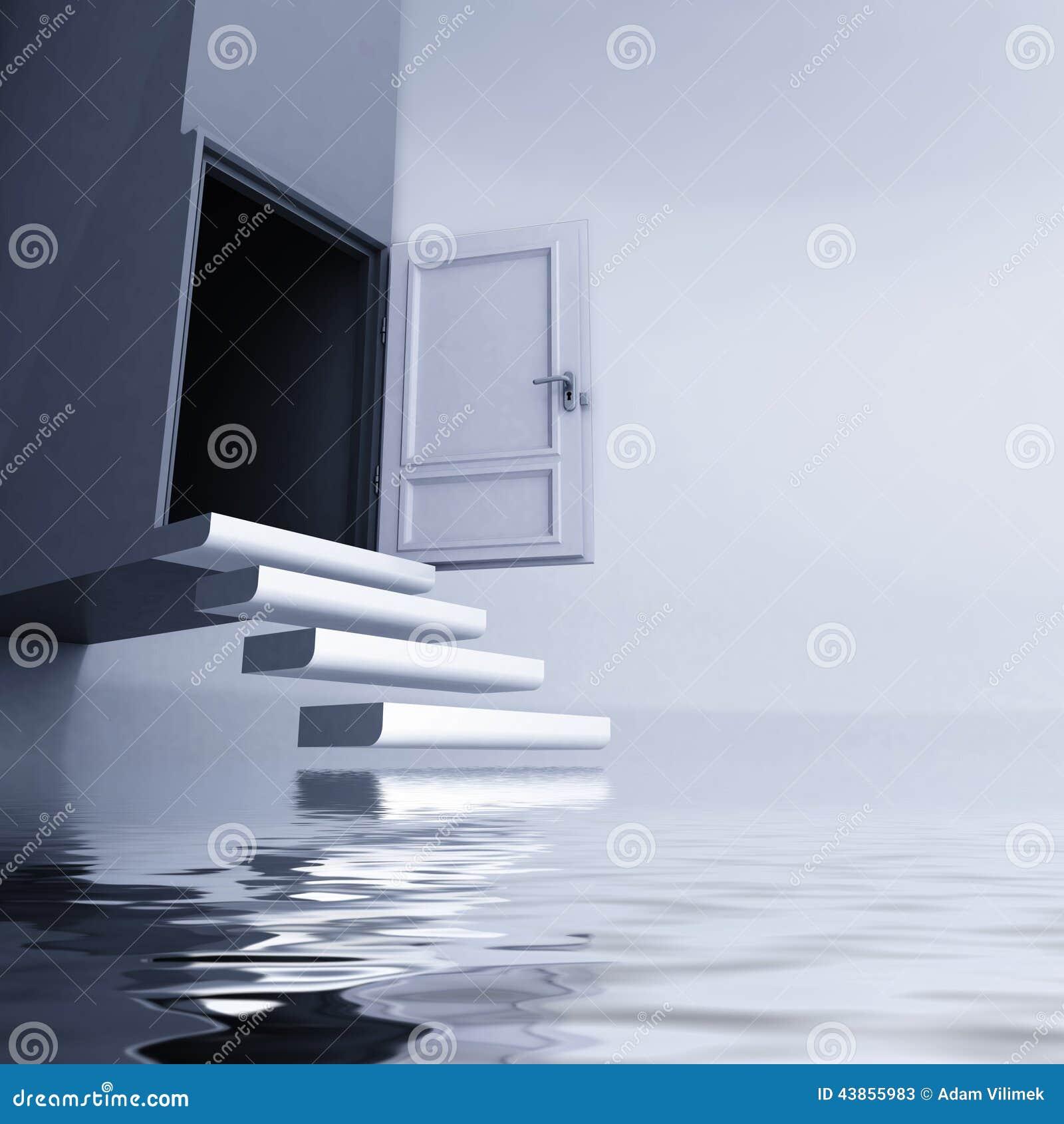 Bezaubernd Schwebende Treppe Beste Wahl Pattern Frei Mit Offener Tür Entgeht Vom