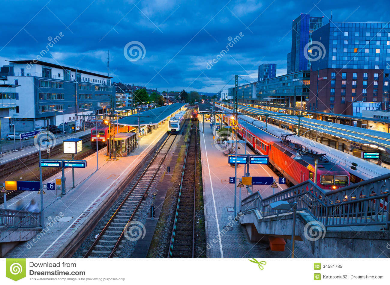 Freiburg Hauptbahnhof Railway Station Germany Editorial Image