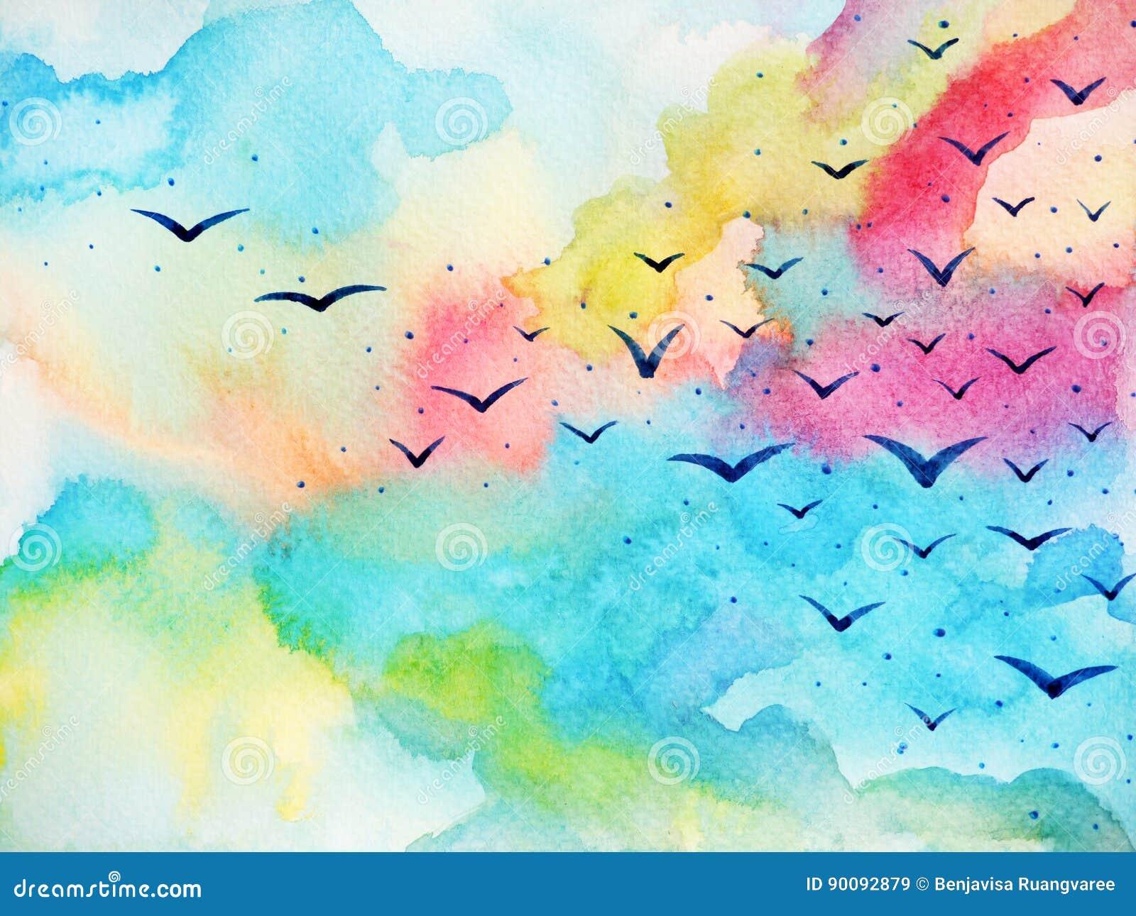 Freie Vögel, die auf neue Himmelaquarell-Malereiillustration fliegen