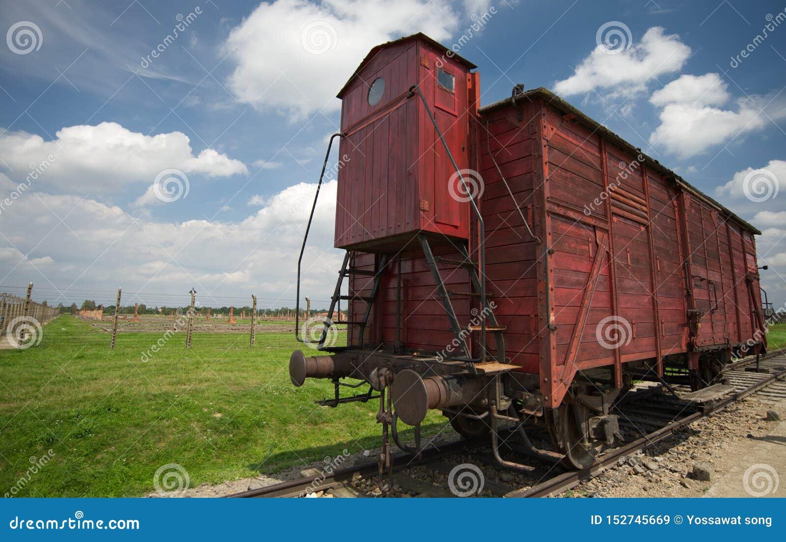 Freight car in Auschwitz II-Birkenau, Warsaw, Poland