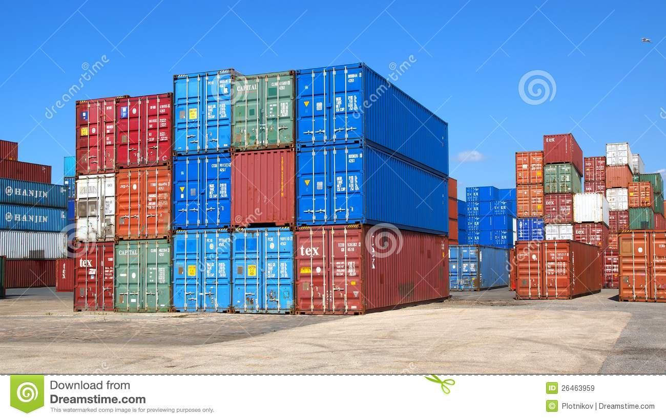 freight containers in the le havre port editorial stock image image 26463959. Black Bedroom Furniture Sets. Home Design Ideas
