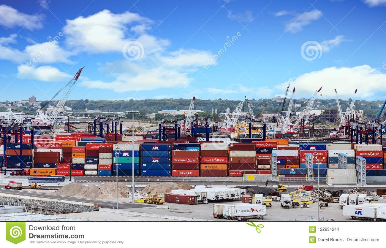 Freight Containers At Shipping Dock Editorial Stock Image