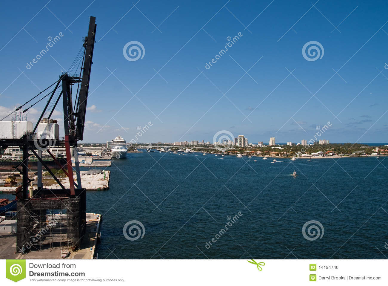 Freight Crane And Cruise Ship At Commercial Port Stock
