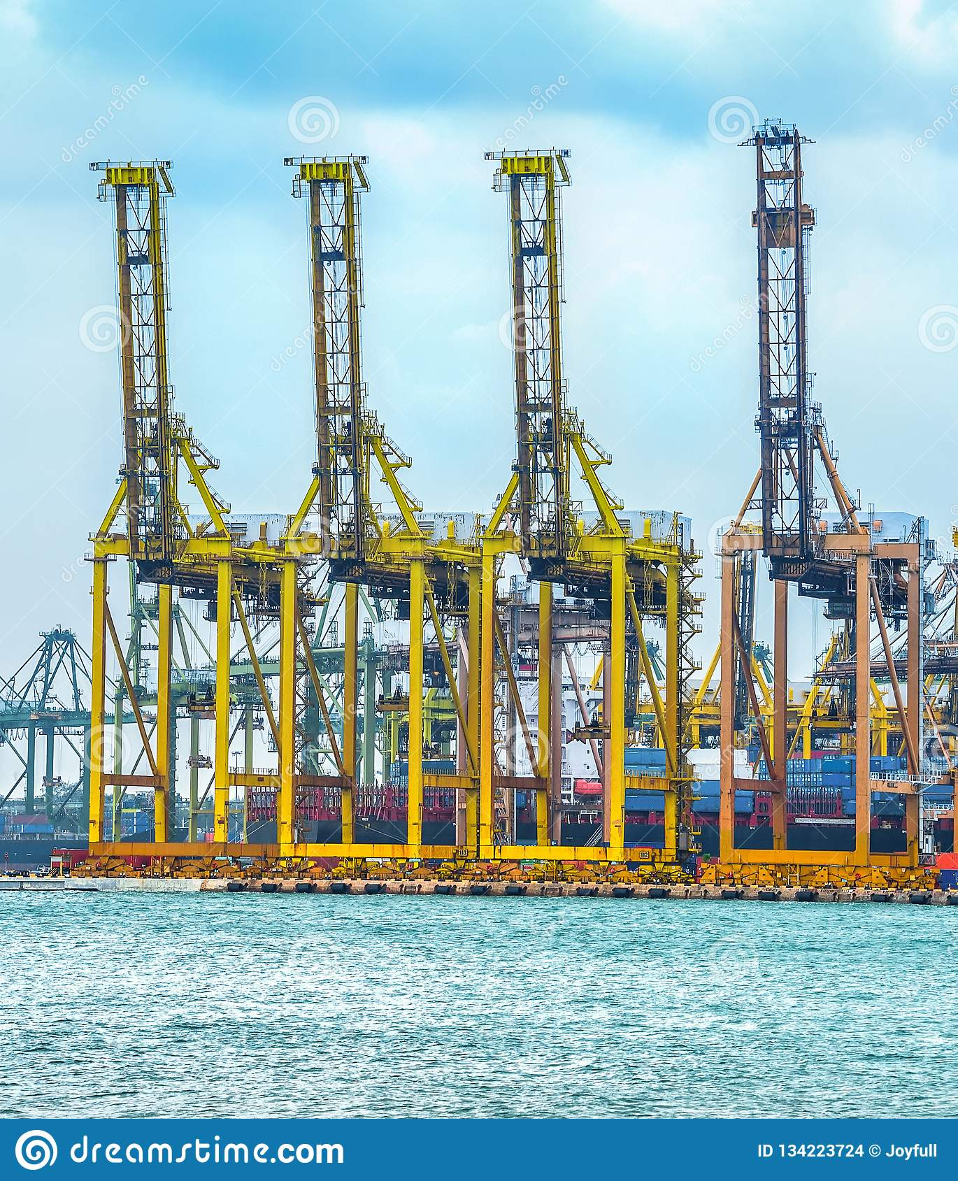 Freight Cranes In Commercial Port Stock Photo - Image of