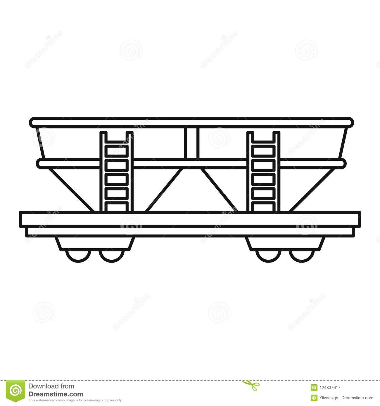 Freight Railroad Car Icon, Outline Style Stock Illustration
