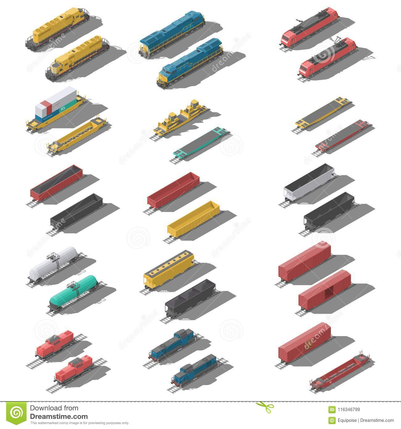Freight railroad cars and locomotives isometric low poly icon set