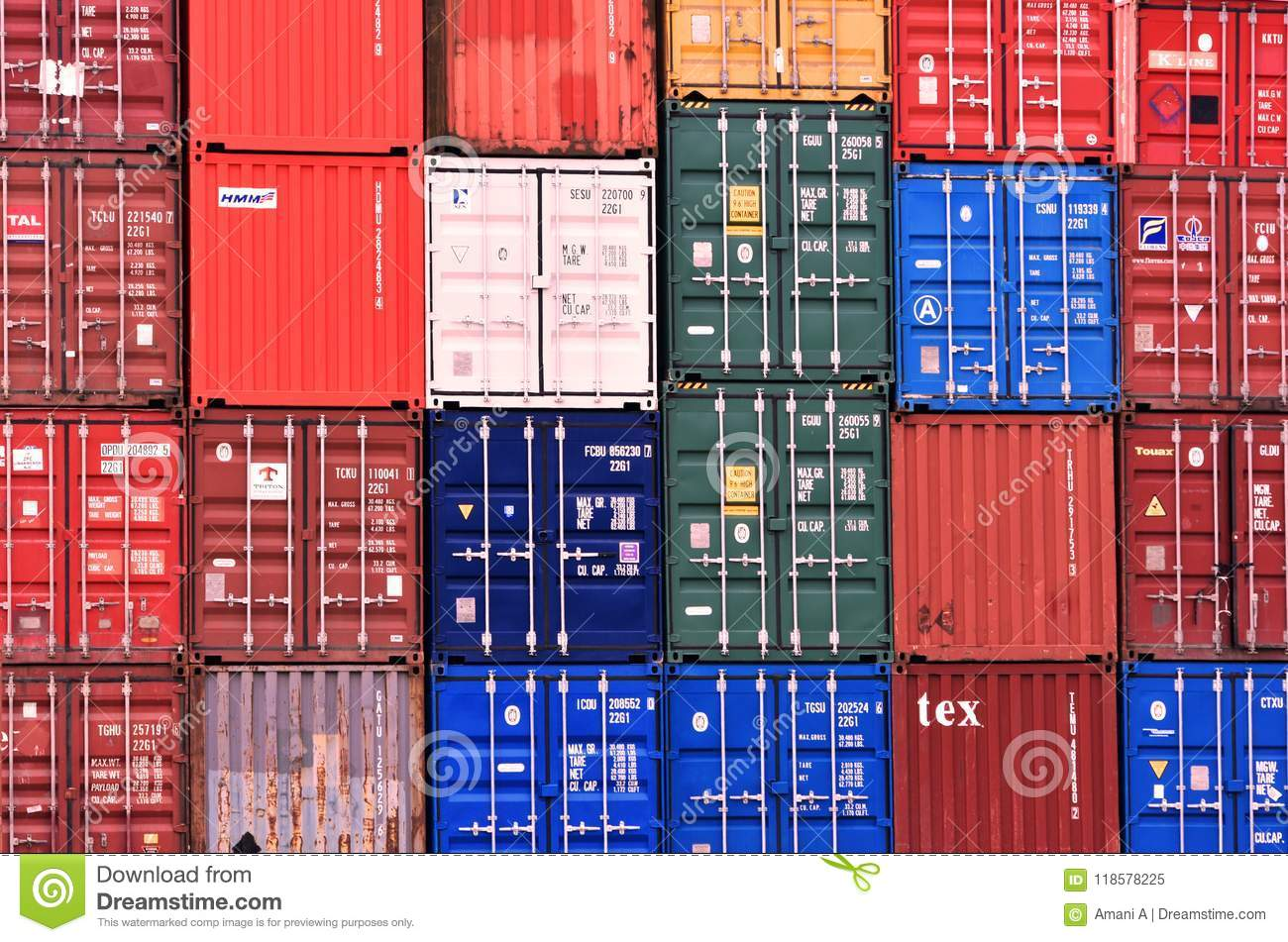 Freight Shipping Containers at Southampton Docks in the UK. 2018.