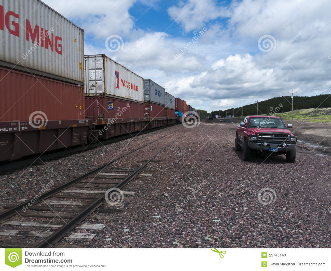 Freight Train With Containers Editorial Image - Image of