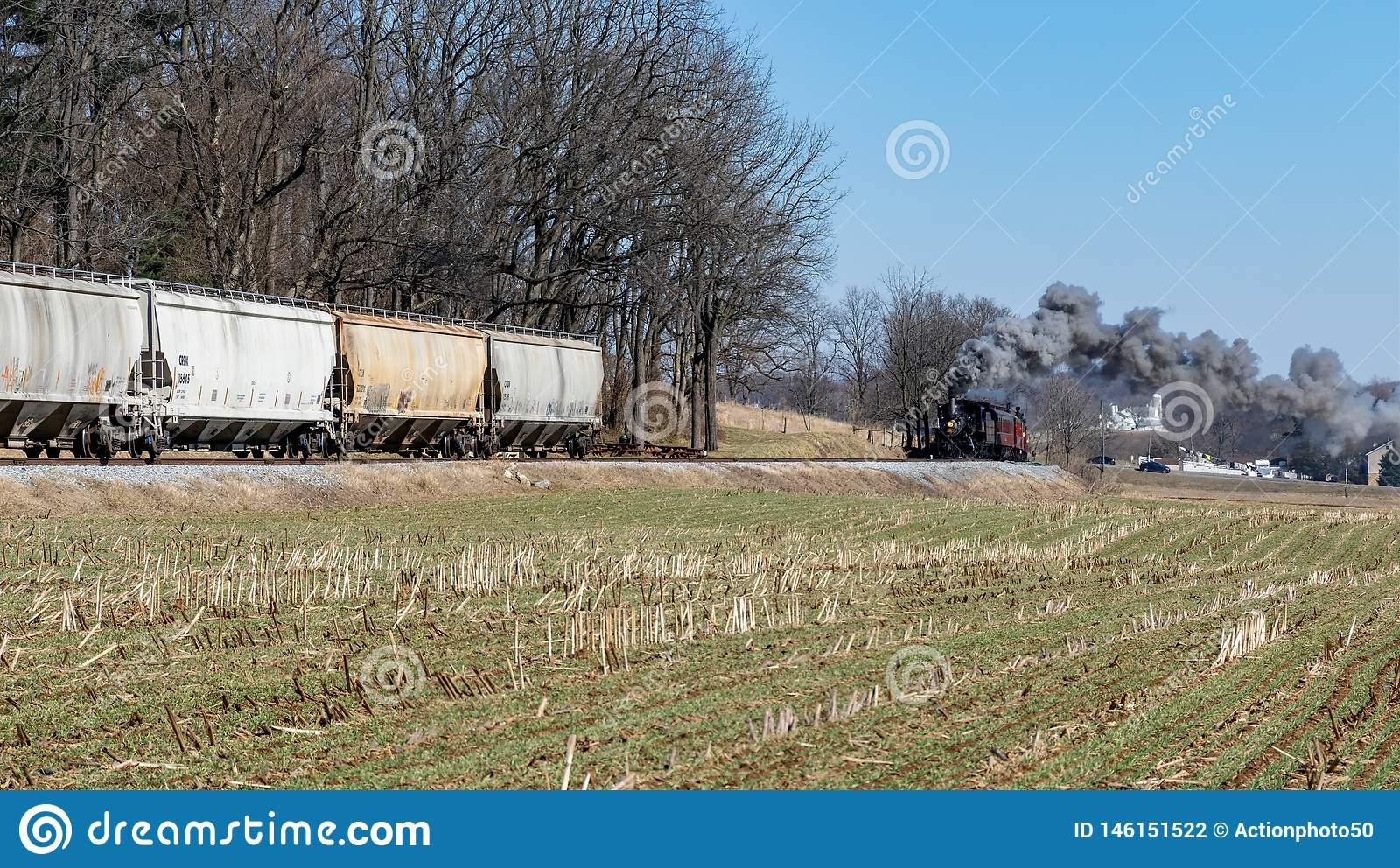 Steam Locomotive And Freight Hopper Cars In Amish ...