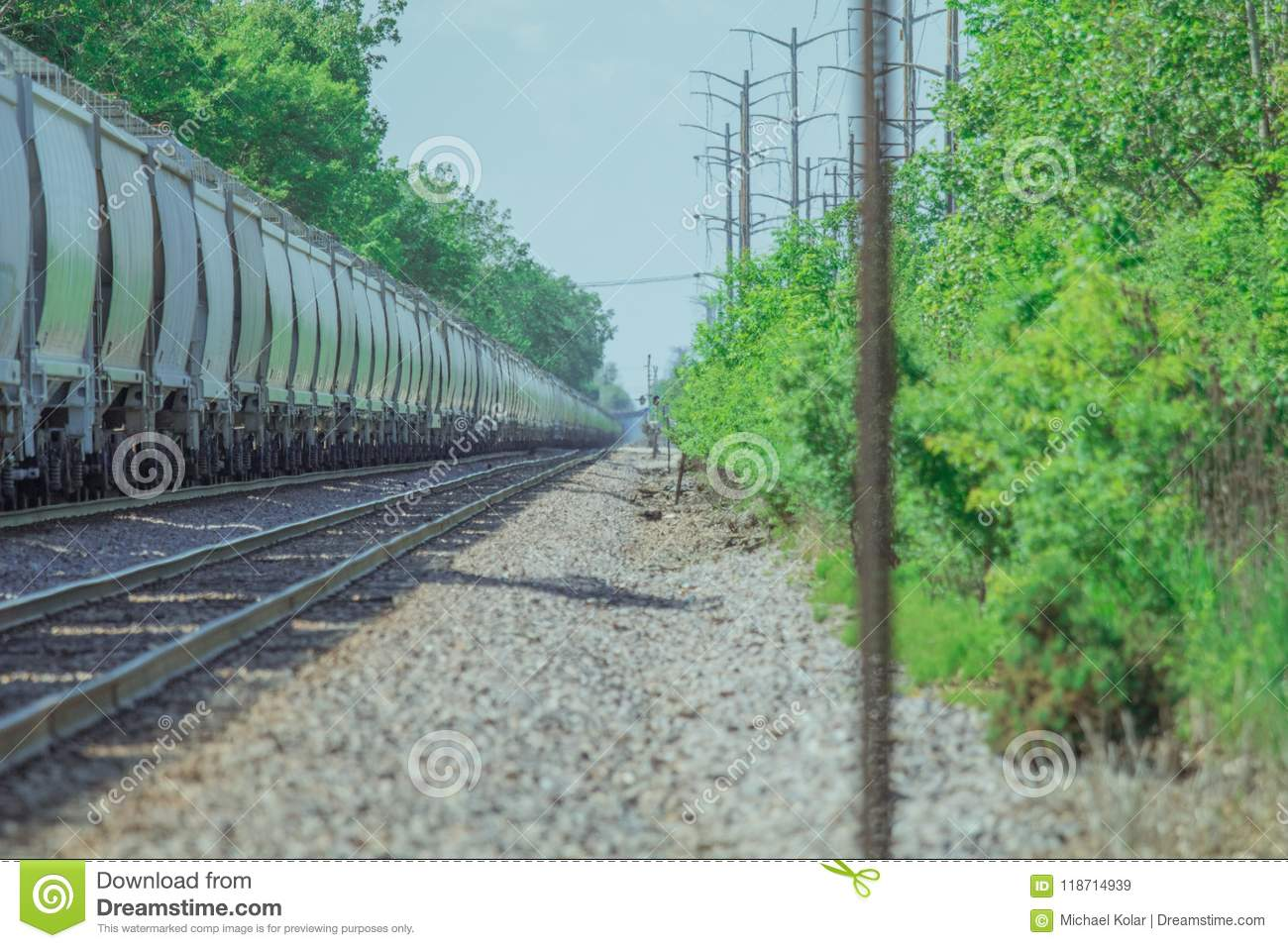 Freight Train Stopped On The Tracks Stock Image - Image of