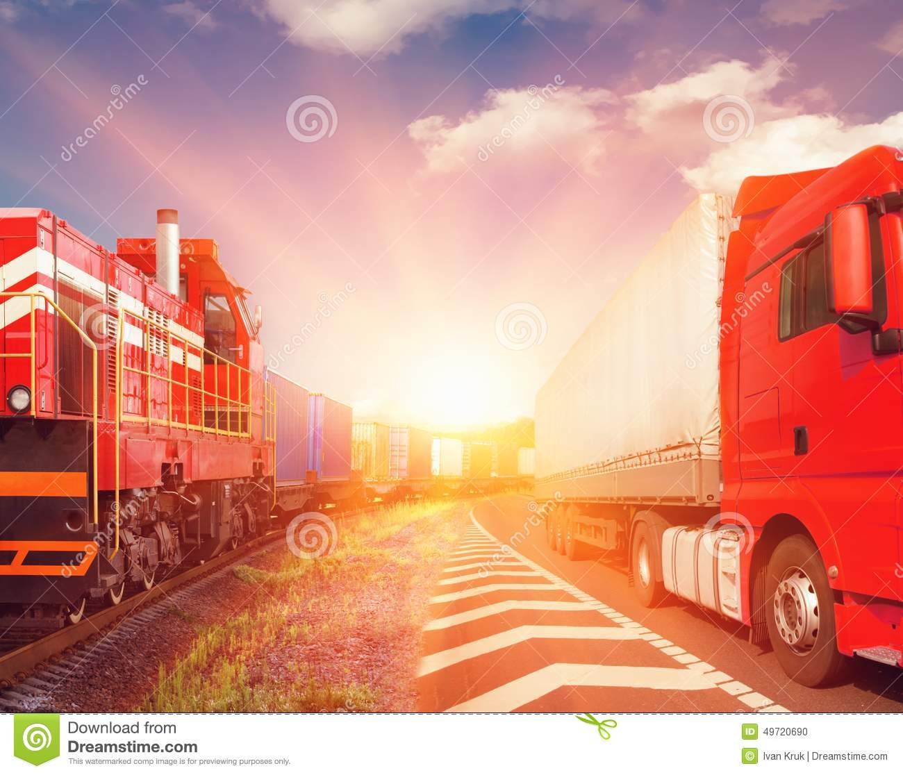 a description of intermodal freight transport which refers to the transportation of goods in a car People or firms engaged in the transportation of goods or  and a description of the freight,  intermodal coordinated transport of goods using.