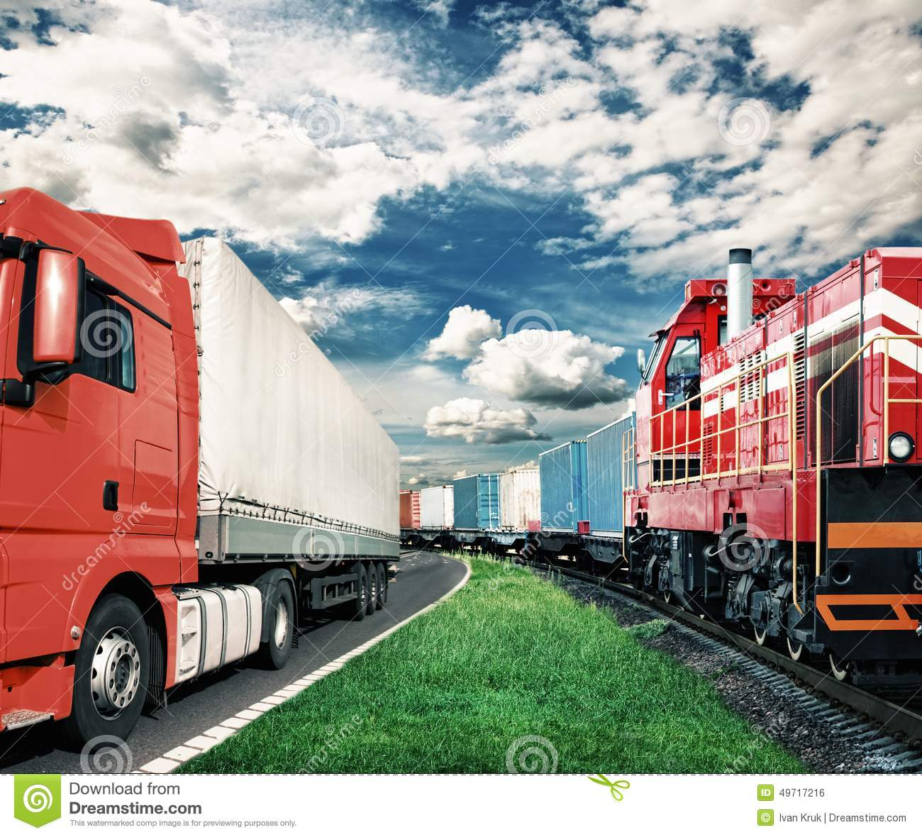 Freight train and truck - transportation concept