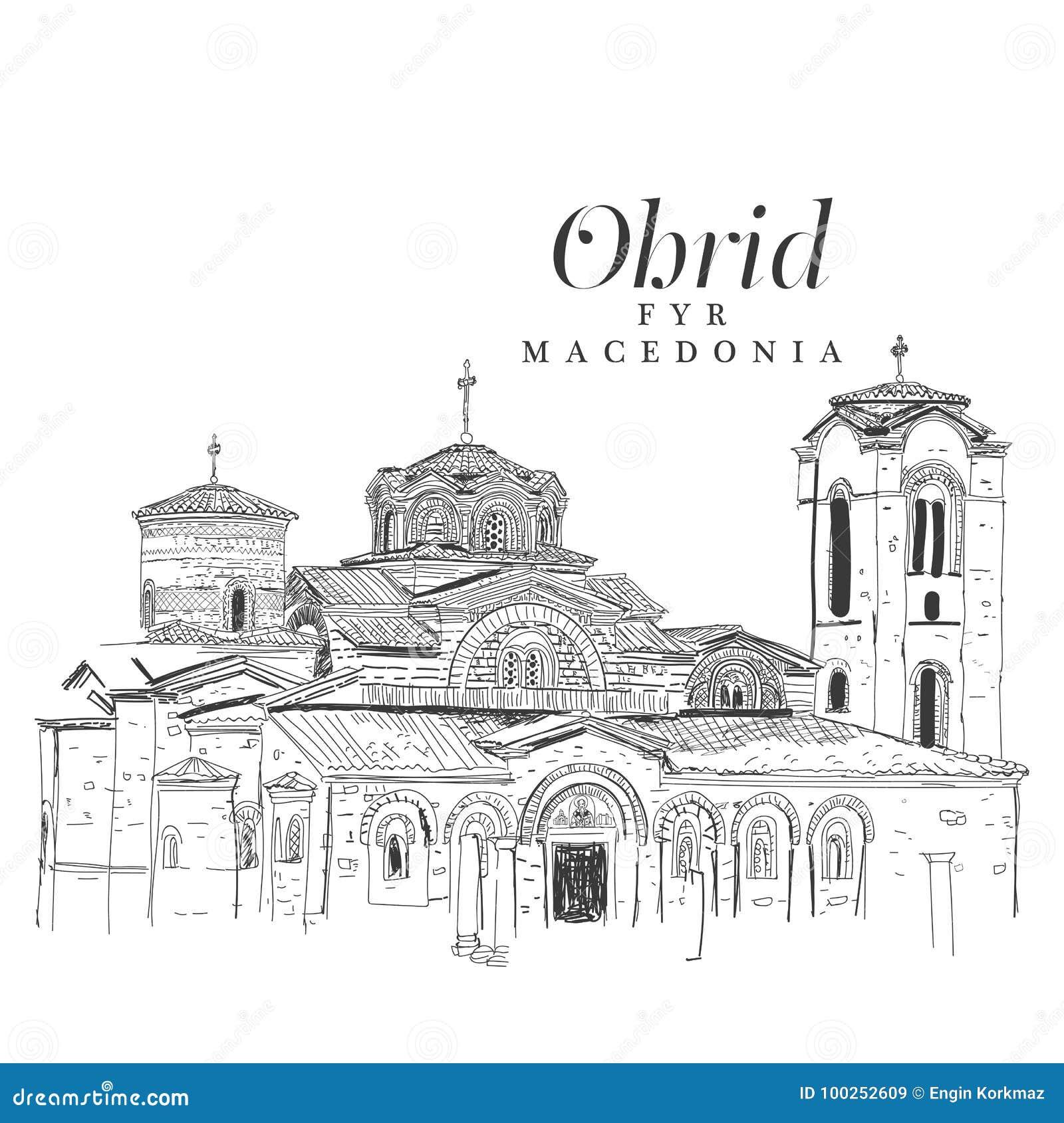 Freihändige digitale Zeichnung der Kirche von Panteleimon, Ohrid, MA