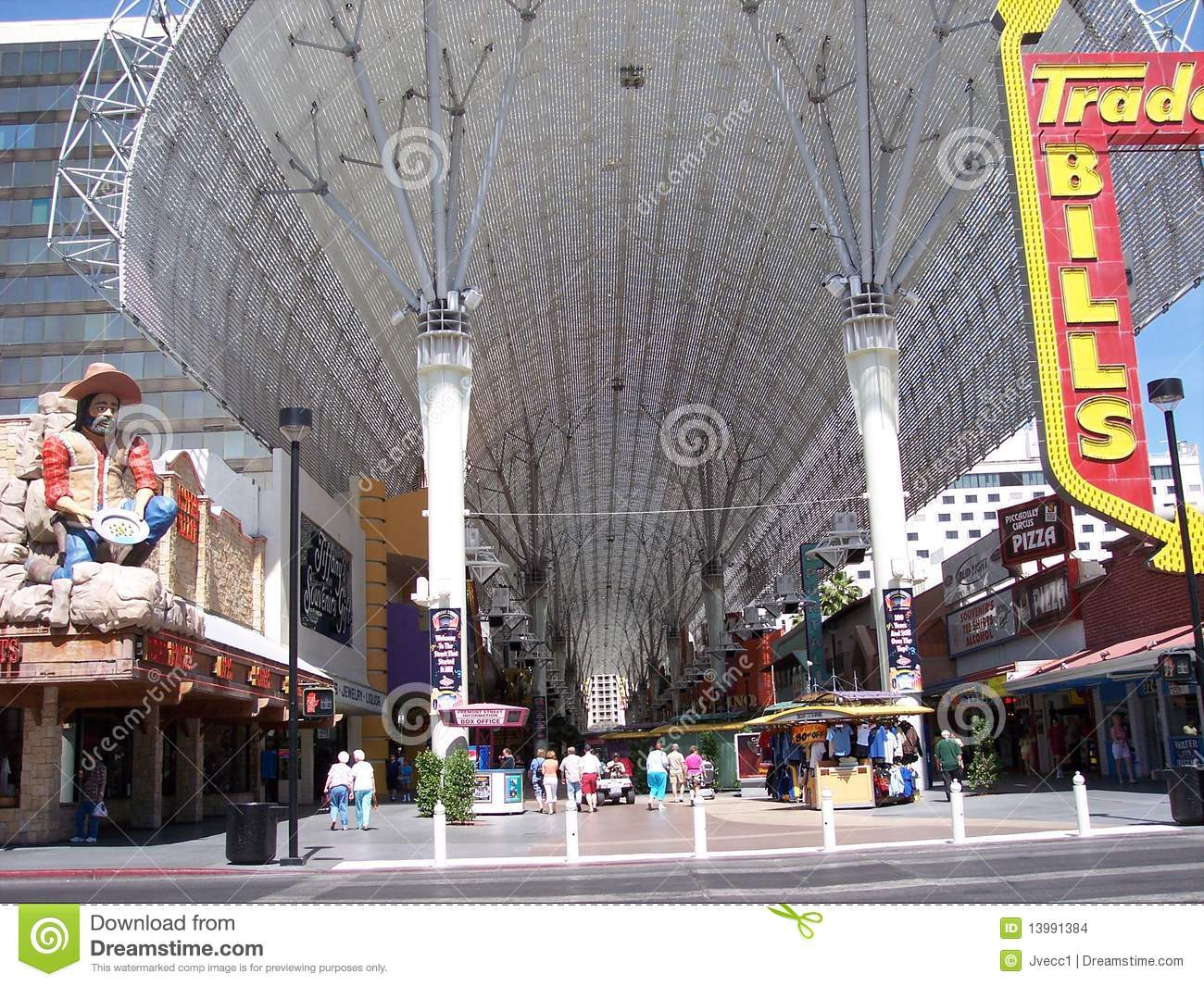fremont street canopy by day  las vegas editorial stock image