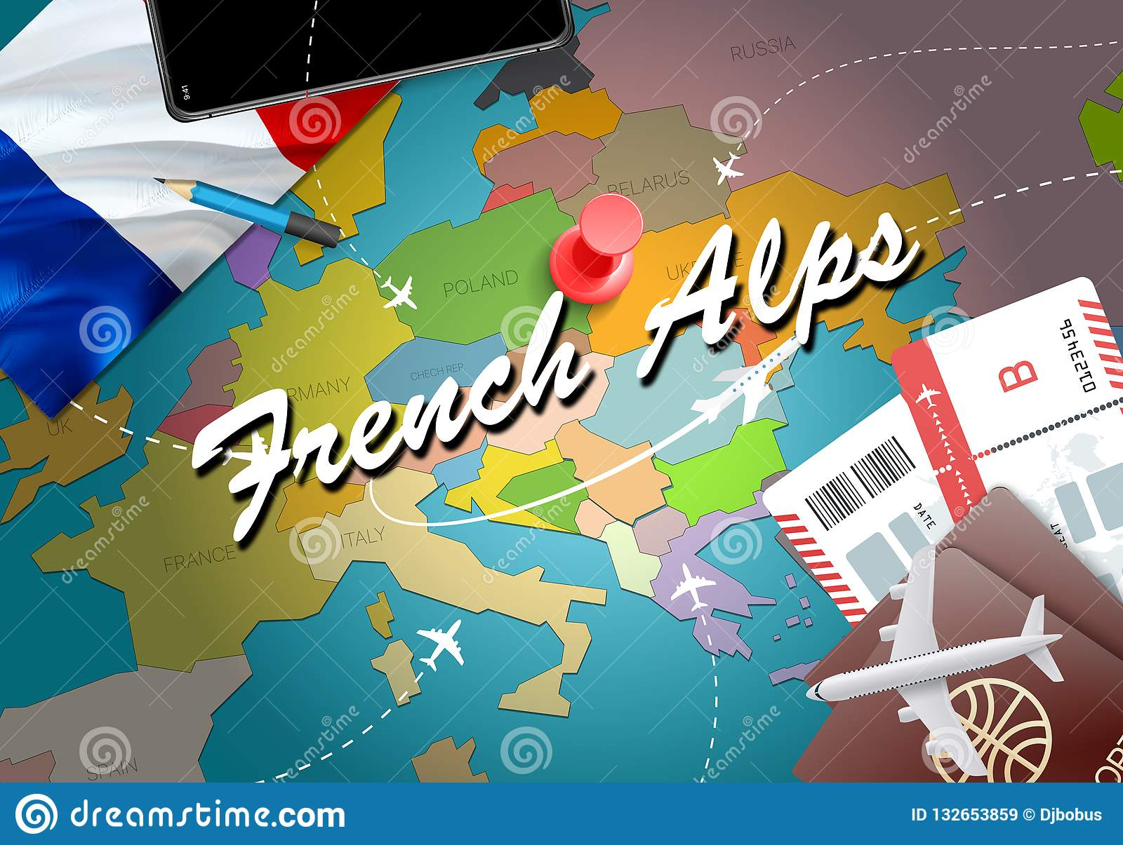 Map Of The Alps In France.French Alps City Travel And Tourism Destination Concept France