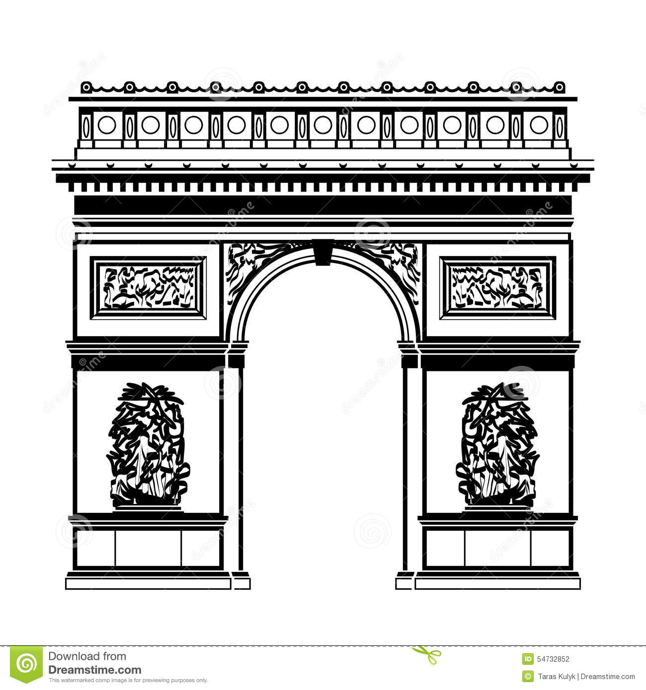 French Arc De Triomphe In Black-and-white Color Stock