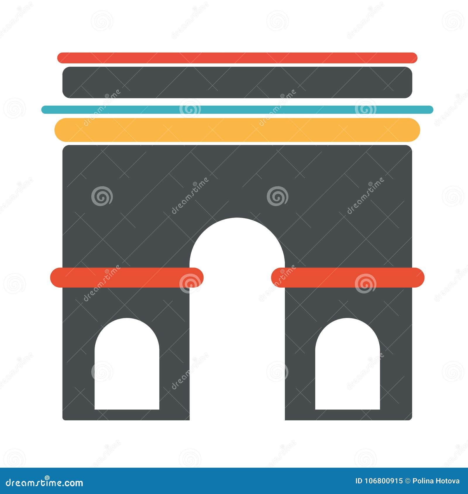 French Architecture Symbol Triumph Arch Stock Vector Illustration