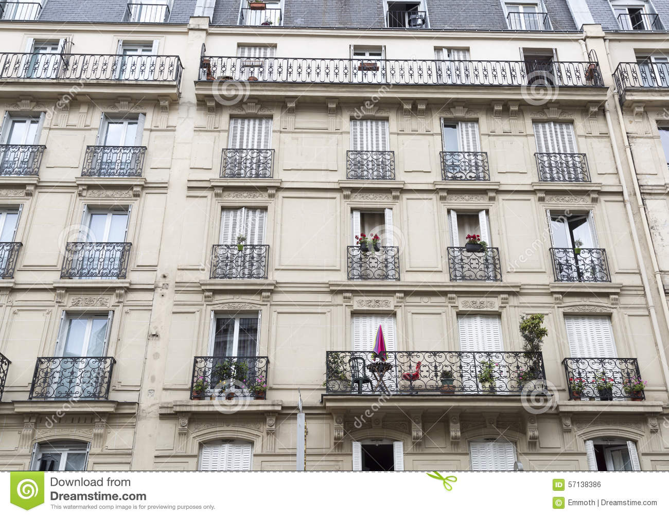 French balconies in paris stock photo image 57138386 for Balcony french