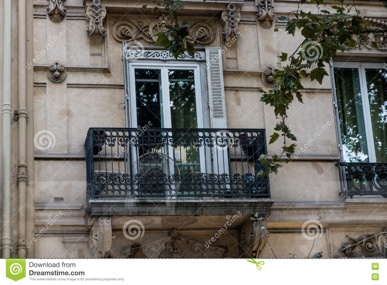French balcony on building in paris stock photo image for Balcony french