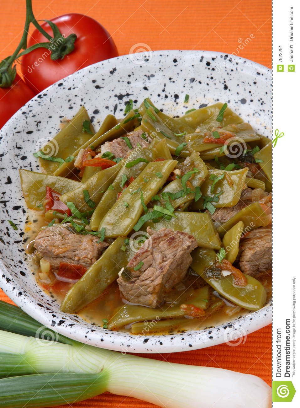 Stock Image: French beans salad with meat