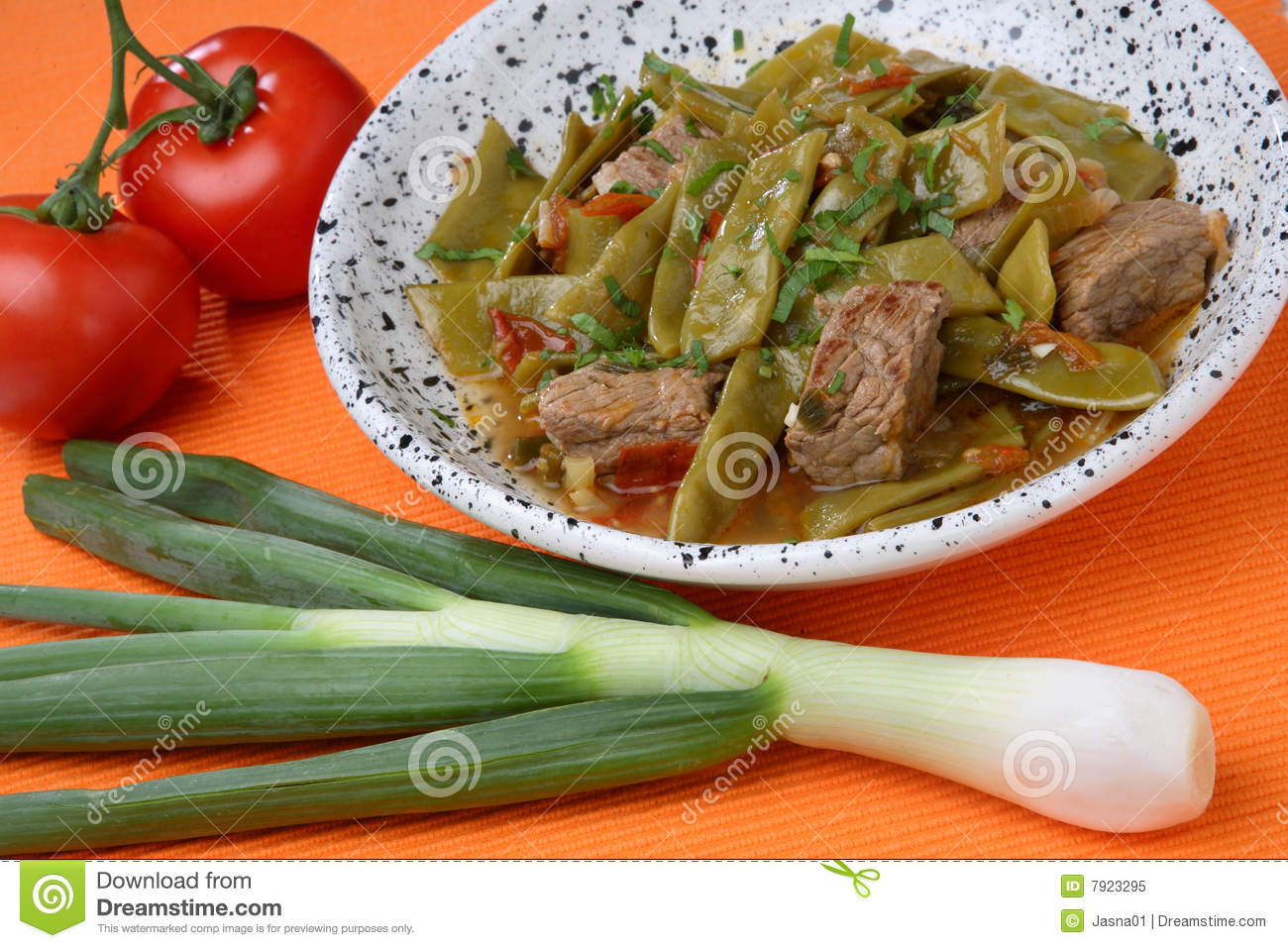 Royalty Free Stock Photo: French beans salad with meat