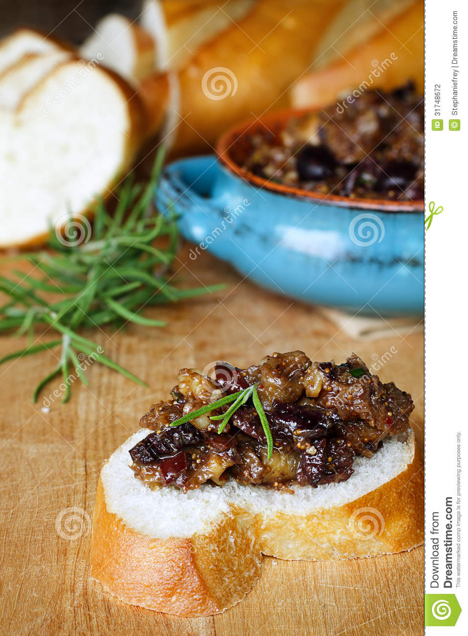 French Bread With Fig Tapenade Stock Photography - Image ...