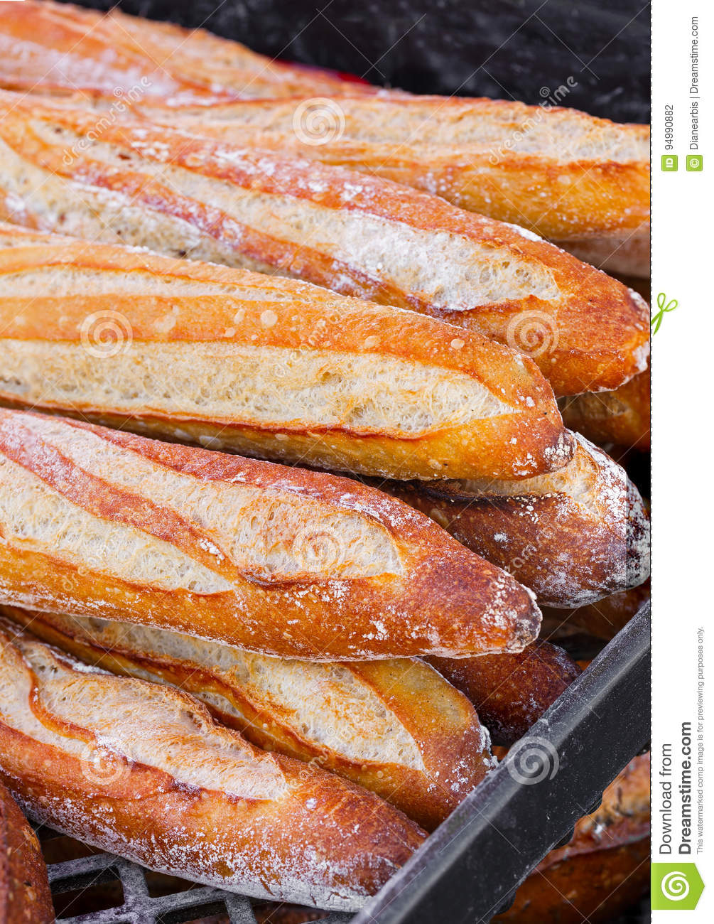 French Bread Loaves at an Outdoor Market