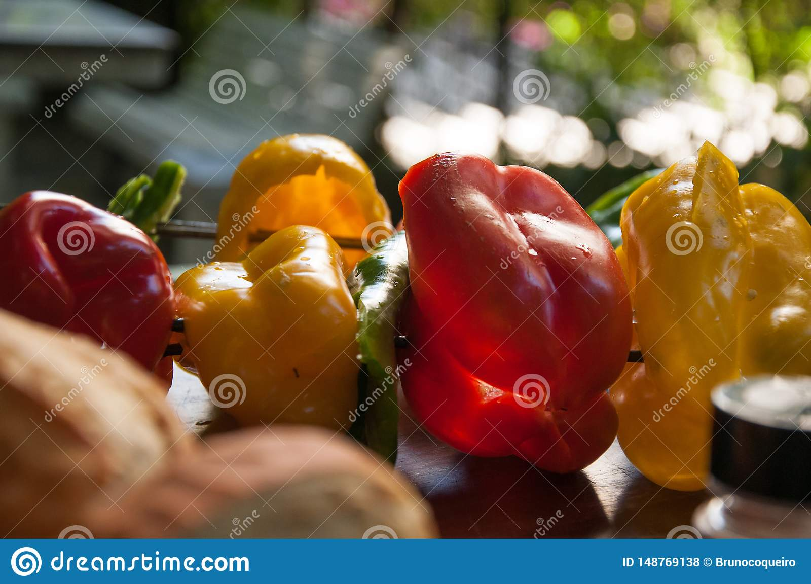 Bell pepper, zucchini and fresh vegetables skewer