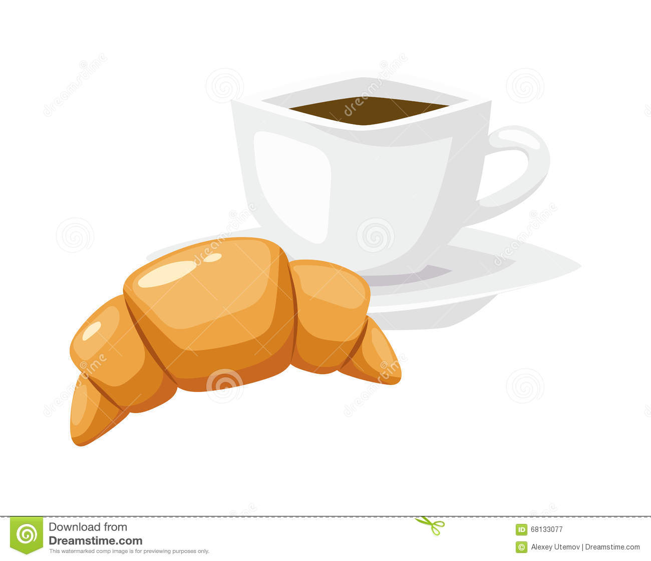 French Breakfast, Croissant Vector Food With Cup Of Hot ...