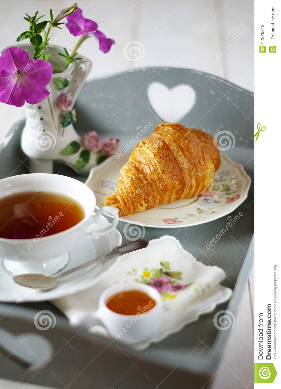 French Breakfast In Style Shabby Chic Stock Image Image Of Pink