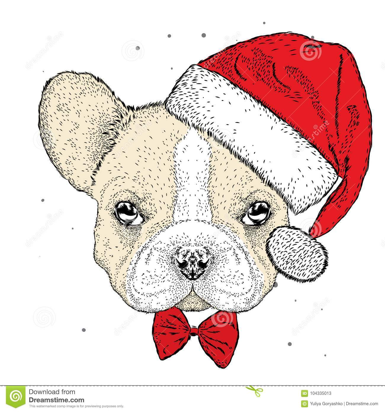 French Bulldog In A Christmas Hat. Cute Puppy. New Year`s And ...