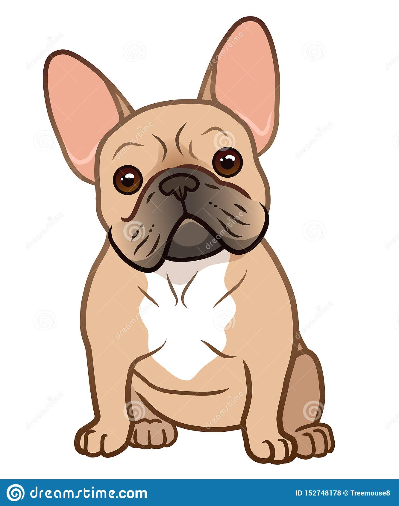French Bulldog Cute Sitting Puppy With Funny Head Tilt Vector Cartoon Illustration Isolated On White Dogs Pets Animal Lovers Stock Illustration Illustration Of Doggy Love 152748178