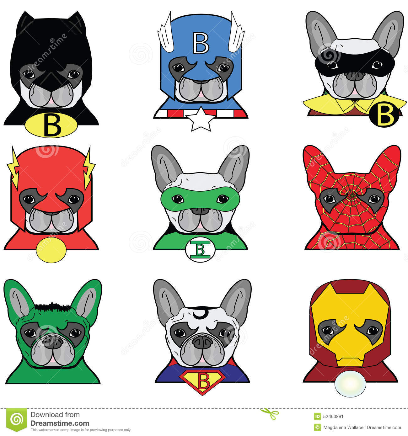 ... Ironman, Spiderman, Green Lantern, Captain America, Flash, Hulk icons