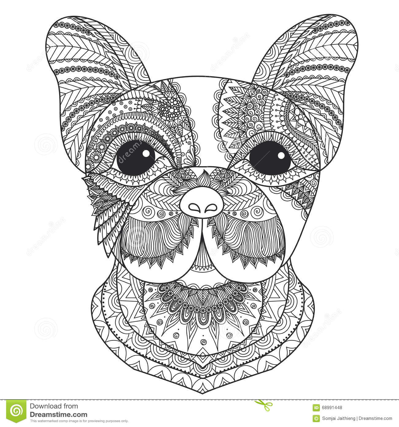 French Bulldog Puppy Zentangle Stylized For Coloring Book Adult Tattoo T Shirt Design And Other Decorations