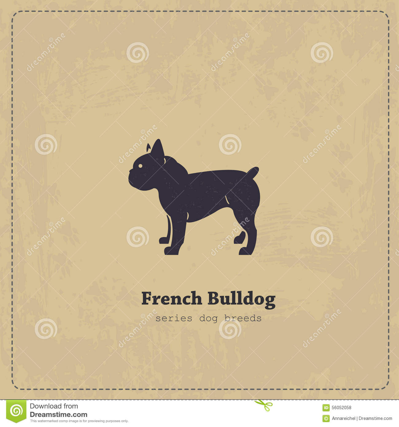 French Bulldog Silhouette Vintage Poster Stock
