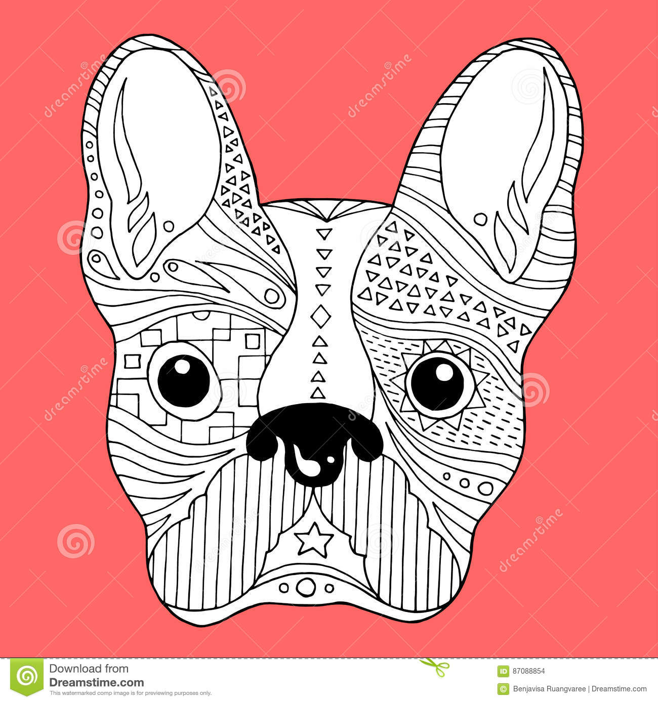 Hand Drawn Zentangle Bulldog Puppy For Coloring Page