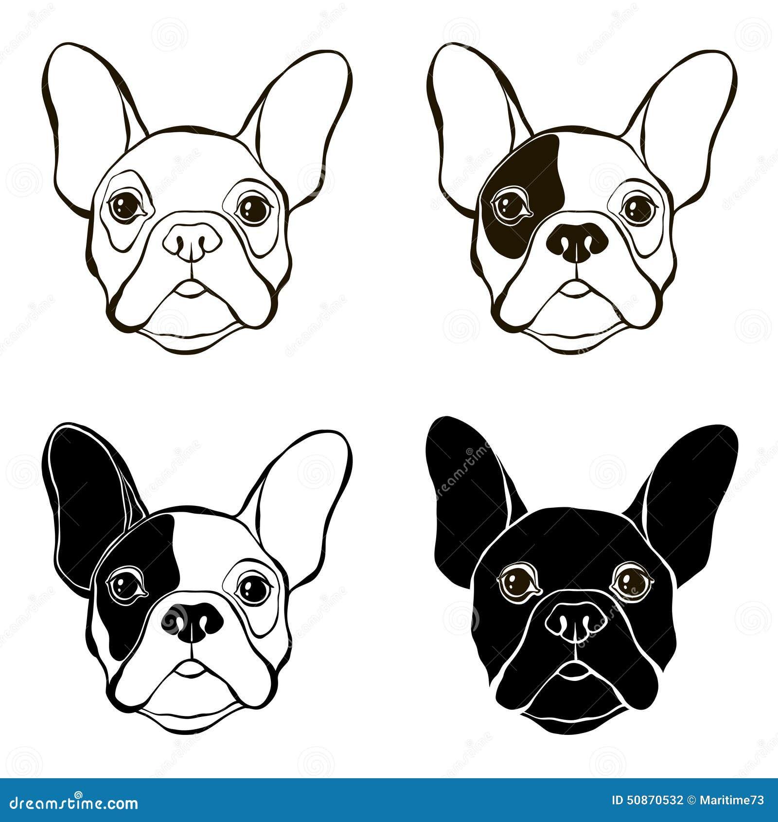 French Bulldog. Vector Set Of Bulldog's Face. Hand-drawn Stock ...