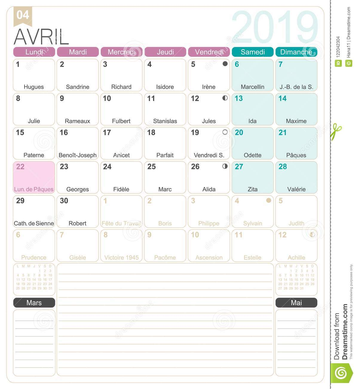 photo about April Printable referred to as French Calendar - April 2019 Inventory Vector - Example of