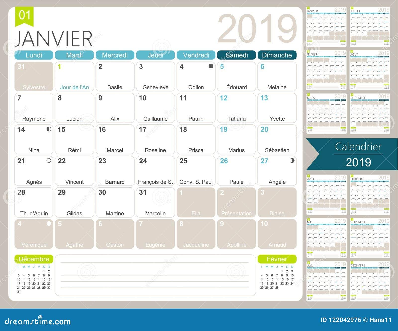 French Calendar 2019 Stock Vector. Illustration Of Date