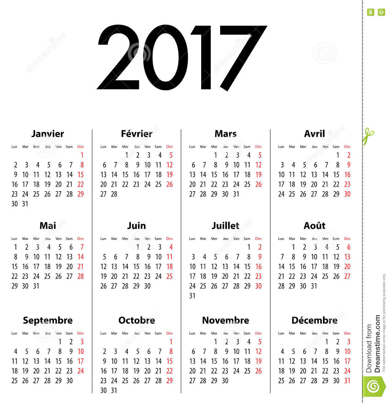 2017 office calendar template