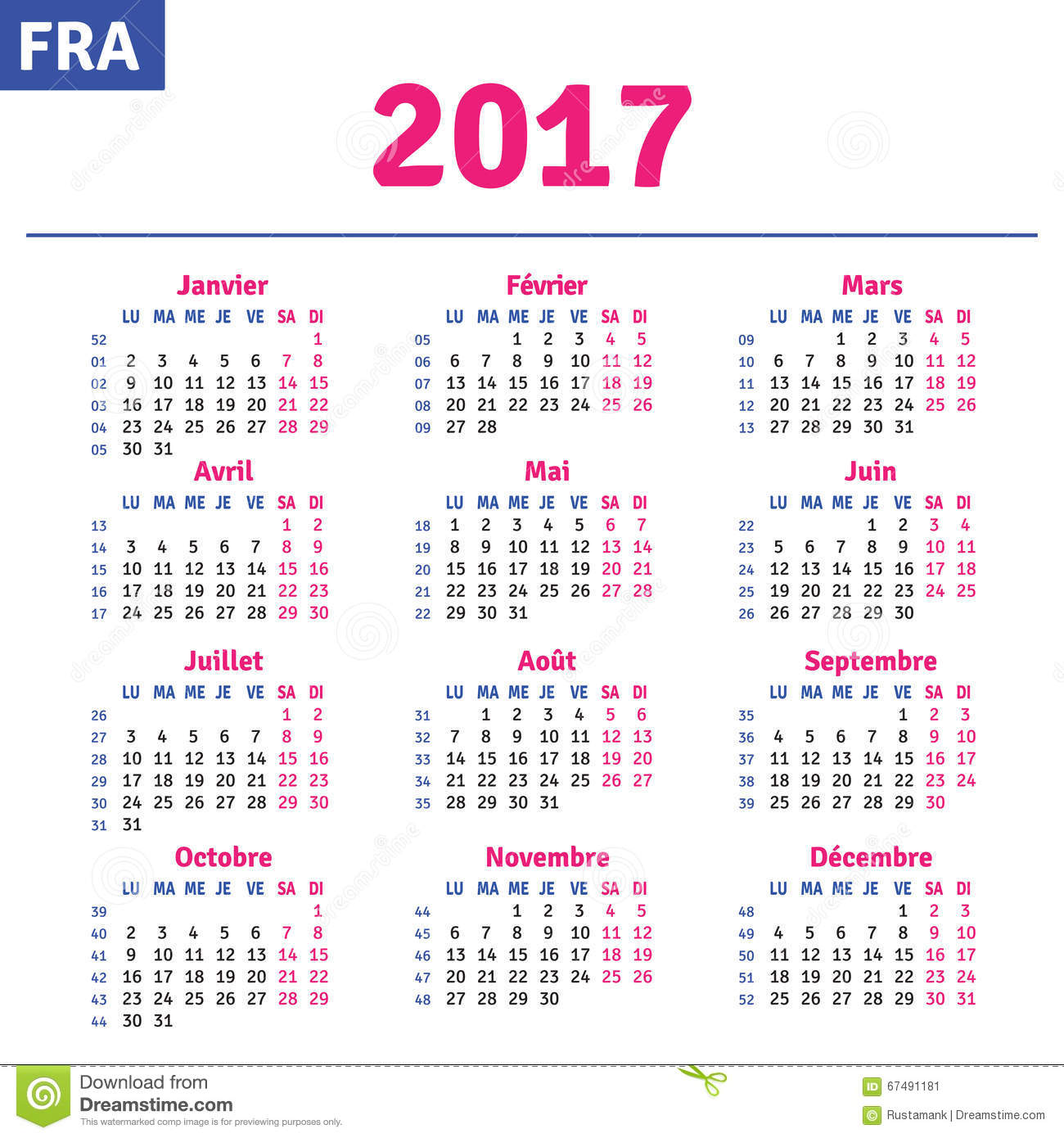French Calendar 2017 Stock Vector Image 67491181