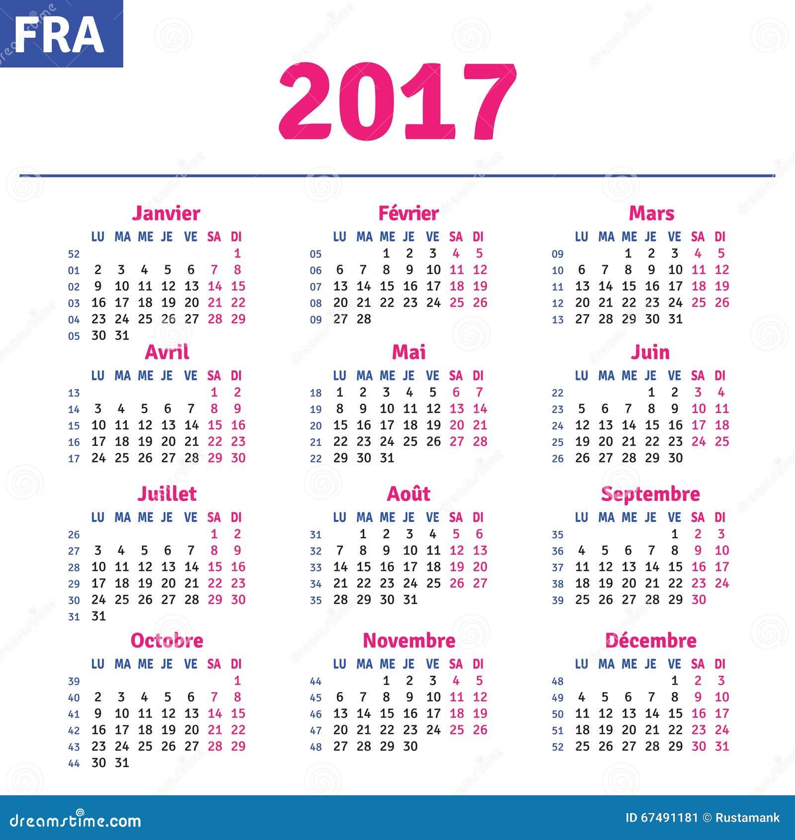 French calendar 2017, horizontal calendar grid, vector.
