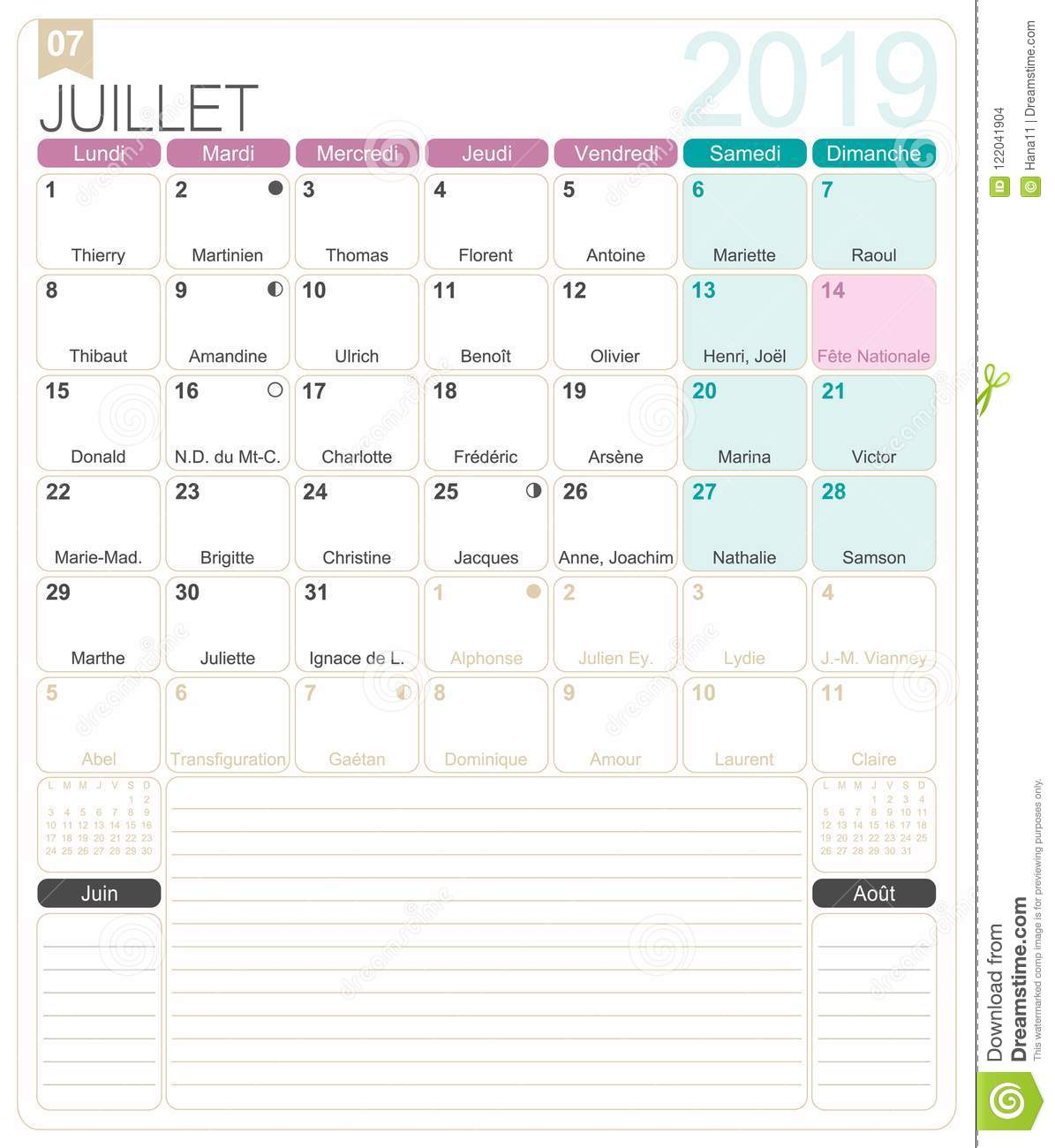 Month Calendar Template | French Calendar July 2019 Stock Vector Illustration Of Month