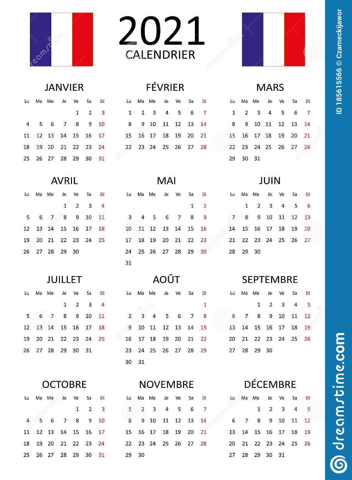 French Calendar For 2021. 12 Months On One Page. Weekend Start
