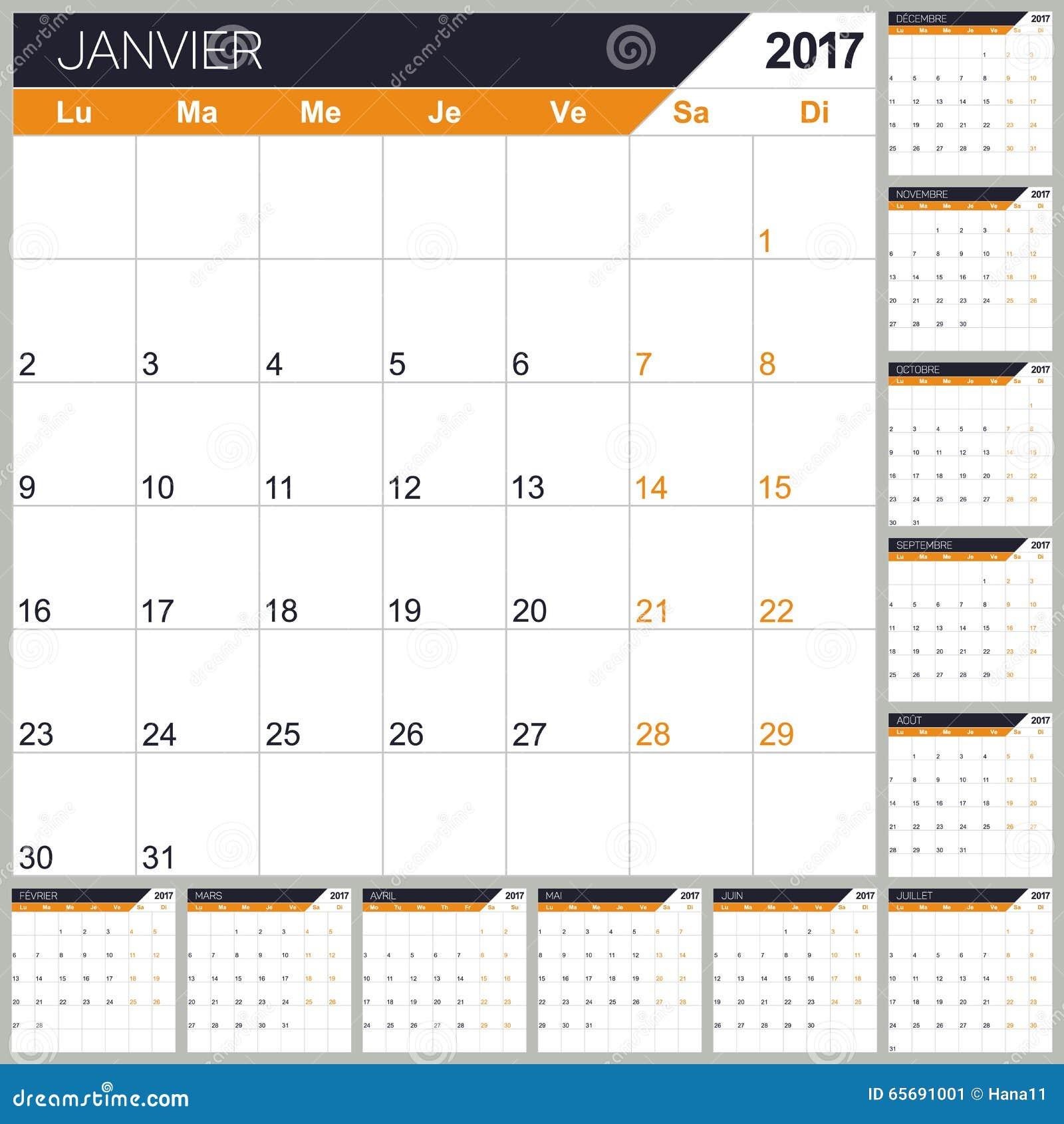 French Calendar 2017 Stock Vector Image 65691001