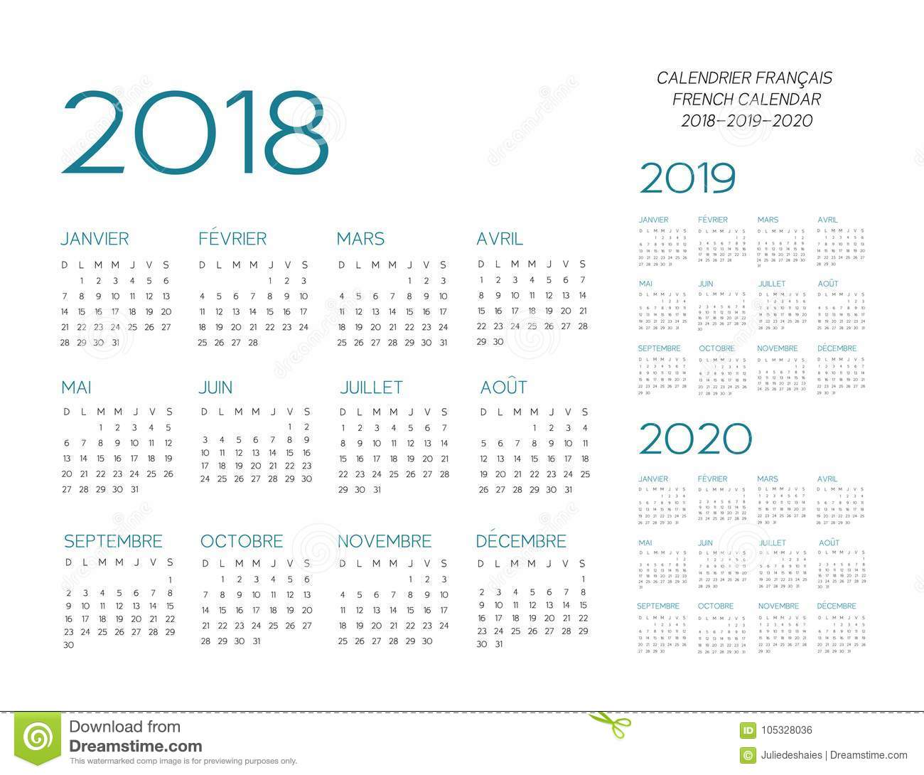 french calendar 2018 2019 2020 vector