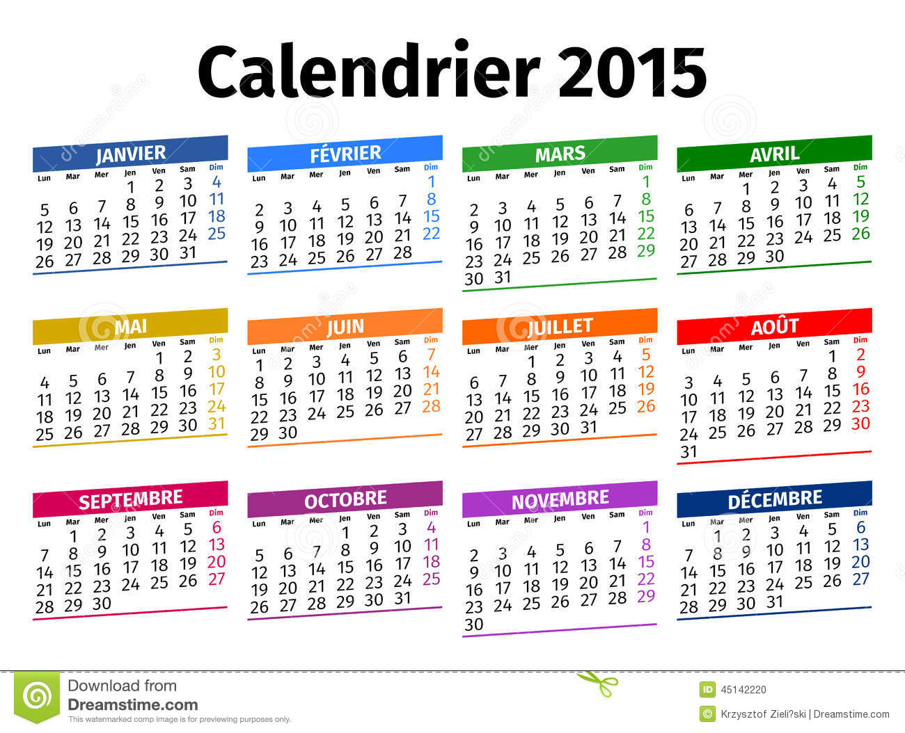 french calendar 2015 stock photo image of colored august 45142220. Black Bedroom Furniture Sets. Home Design Ideas